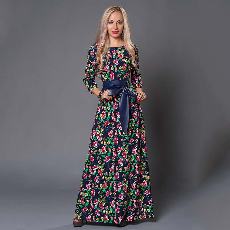 S.FLAVOR Clearance Sale Women Printing Long Dress Elegant 3/4 Sleeve O-neck Casual Vestidos For Female Women Autumn Dress