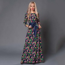Venta de liquidación de sabor S. vestido largo estampado de mujer elegante 3/4 manga cuello redondo Vestidos casuales para mujeres vestido de otoño