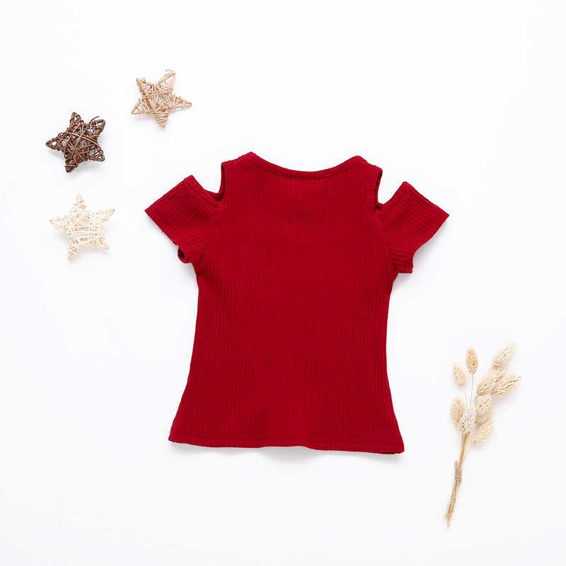 Милая детская футболка; хлопковая одежда; топы; модные летние топы для маленьких девочек; яркие цвета; топы с короткими рукавами и открытыми плечами