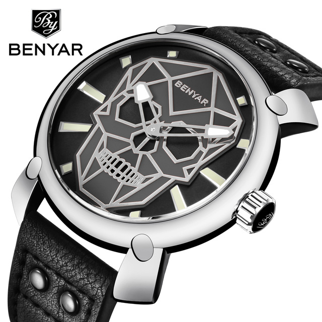Relogio Masculino BENYAR Skull Watch Mens Watches Top Brand Luxury Fashion Quartz Watch Men Wristwatch Clock Man Montre Homme   Relogio Masculino BENYAR Skull Watch Mens Watches Top Brand Luxury Fashion Quartz Watch Men Wristwatch Clock Man Montre Homme