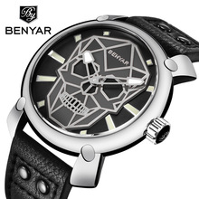Relogio Masculino BENYAR Skull Watch Mens Watches Top Brand Luxury Fashion Quartz Watch Men Wristwatch Clock Man Montre Homme цена