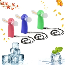 купить Portable Handheld Cooling Fan Colorful LED Mini Light Battery Power With Strap по цене 110.07 рублей
