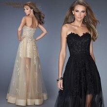 Evening шампанское fashion аппликации party милая пром dress платья кружева черный