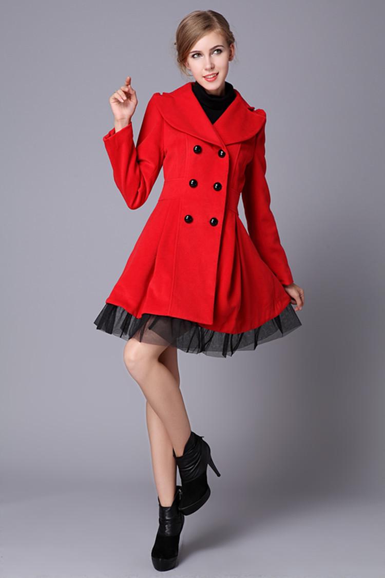 Free Shipping 2013 Red Black White Wool Dress Coats Women Double ...