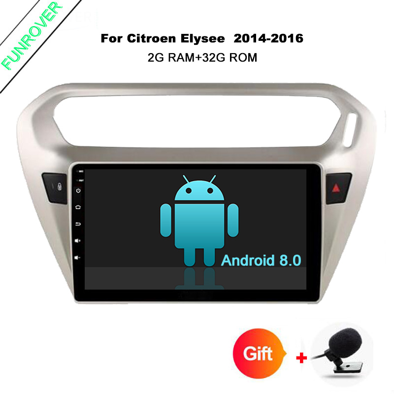 Funrover 9 inch Android 8.0 RAM 2GB Car DVD Player for Peugeot 301 for Citroen Elysee 2014+ gps radio tape record stereo rds usb