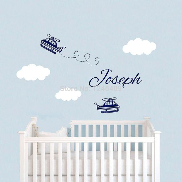 Cute Custom Baby Nursery Airplane Wall Sticker Name Decal Children Rooms Clouds Wallpaper