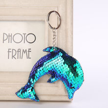 Cute Dolphin Keychain Glitter Pompom Sequins Key Chain Gifts for Women Llaveros Mujer Car Bag Accessories Key Ring Chaveiro(China)