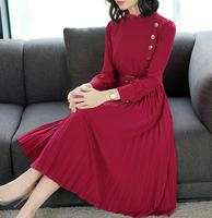High Quality Hot Sale 2019 Spring New Arrival Stand Collar Collect Waist A Patterned Pleated Woman Party Dress With Belt Red