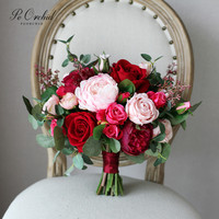 PEORCHID Beautiful Bridal Bouquet For Wedding Hand Flowers Red Burgundy Pink Mulitcolor Artificial Peony Rose Bride Bouquets