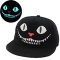 Wholesale New Glow In The Dark Men Women Cheshire Cat Snapback Hats Adults Wolf Fluorescent Flat Baseball Caps Luminous Gorros