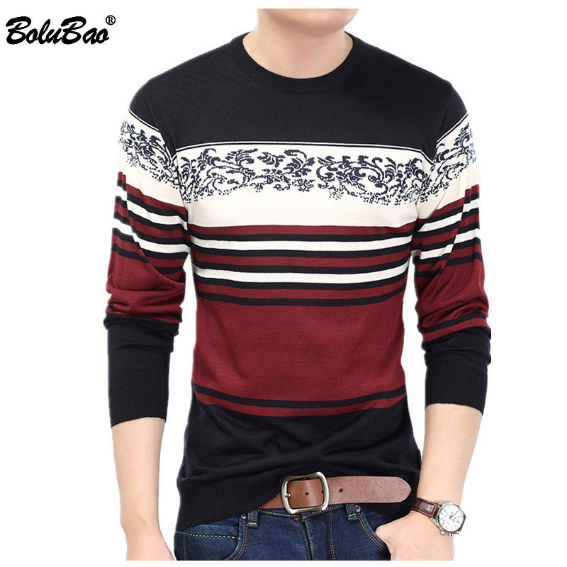 BOLUBAO Fashion Brand Men Splice Sweater 2018 Winter Men's Pullover Sweaters Printing Striped Knitted Sweater Men Jersey Clothes