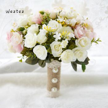 Bukiet ślubny kwiaty ślubne bukiety ślubne poliester róże sztuczne druhny akcesoria ślubne bukiet ślubny D678 tanie i dobre opinie NYLON 27cm 0 56kg 23cm bridal bouquet wedding bouquet