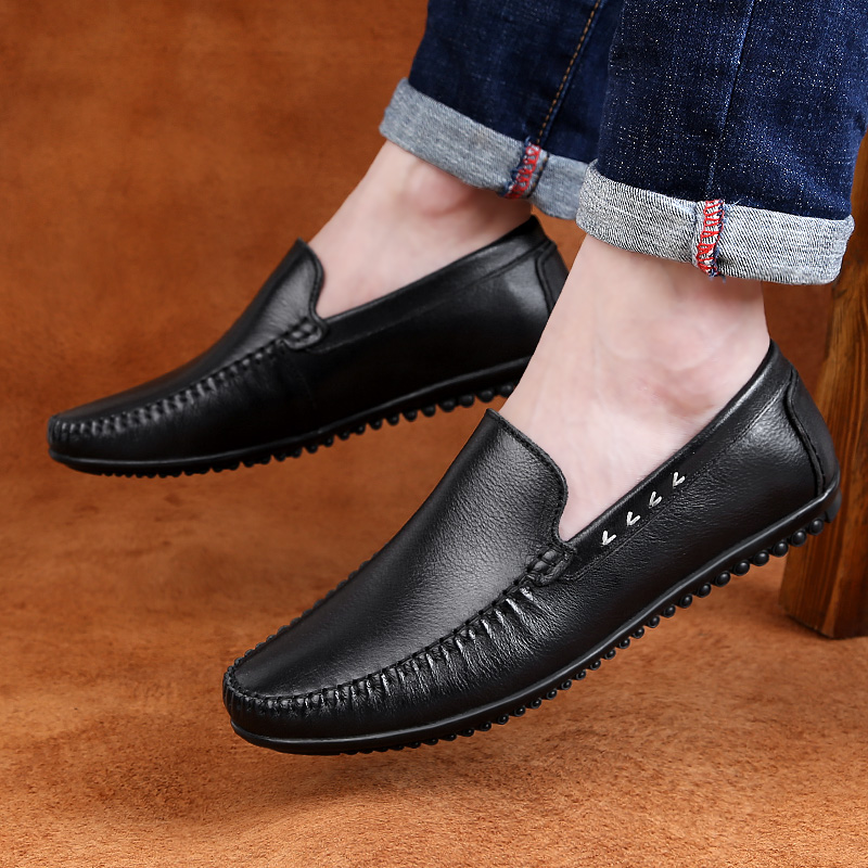 Italian Men Shoes outdoor Casual Luxury Brand Summer Genuine Leather Men Loafers Moccasins hole Breathable Slip On Boat Shoes L4