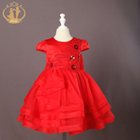 Nimble Girls Dress Solid Embroidery Princess Kids Clothes Voile Ball Gown Roupas Infantis Menina Children Clothing