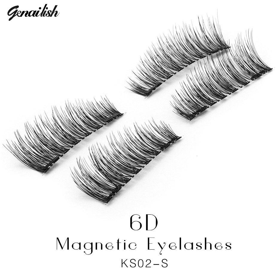 Genailish False Eyelashes 6D Magnetic Eyelashes Double Magnet Fake Eye Lashes Hand Made Strip Lashes cilios posticos KS02-S