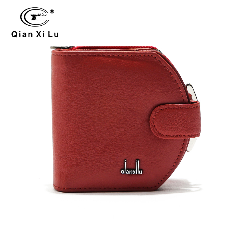 Qianxilu Brand 2016 Fashion Genuine Leather Women's Coin Purses Small Wallet Zipper and Hasp Purse bolsos porte-feuille enmayer sexy red shoes woman high heels bowties charms size 34 47 zippers round toe winter over the knee boots platform shoes page 2