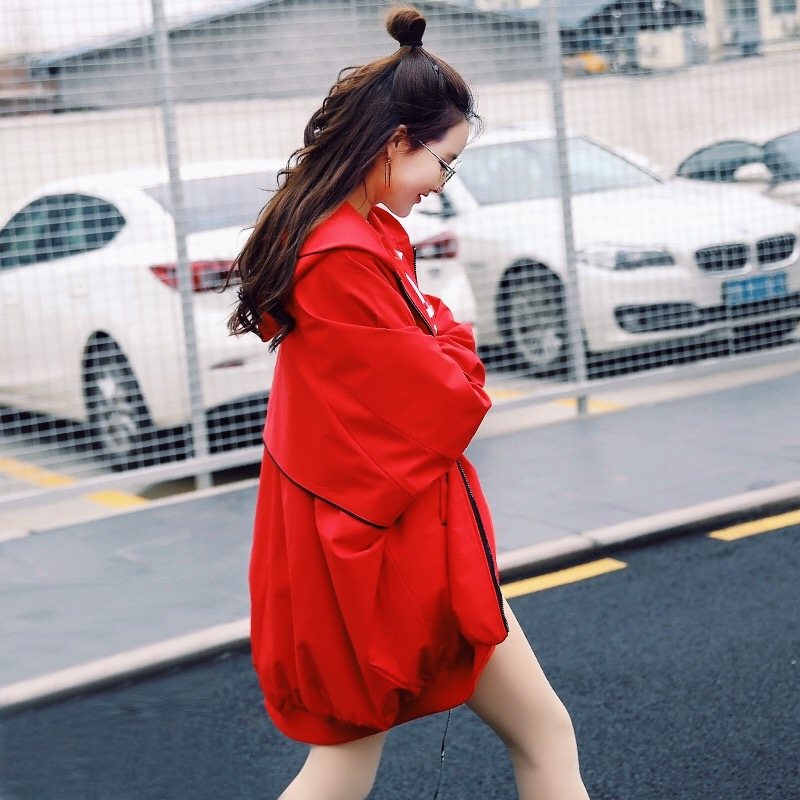 Harajuku nowy na co dzień luźne Plus Size trencz z kapturem kobiet wiosna jesień moda czerwony zamek wstążka nietoperz rękaw Vestidos JQ83 w Trencze od Odzież damska na  Grupa 2