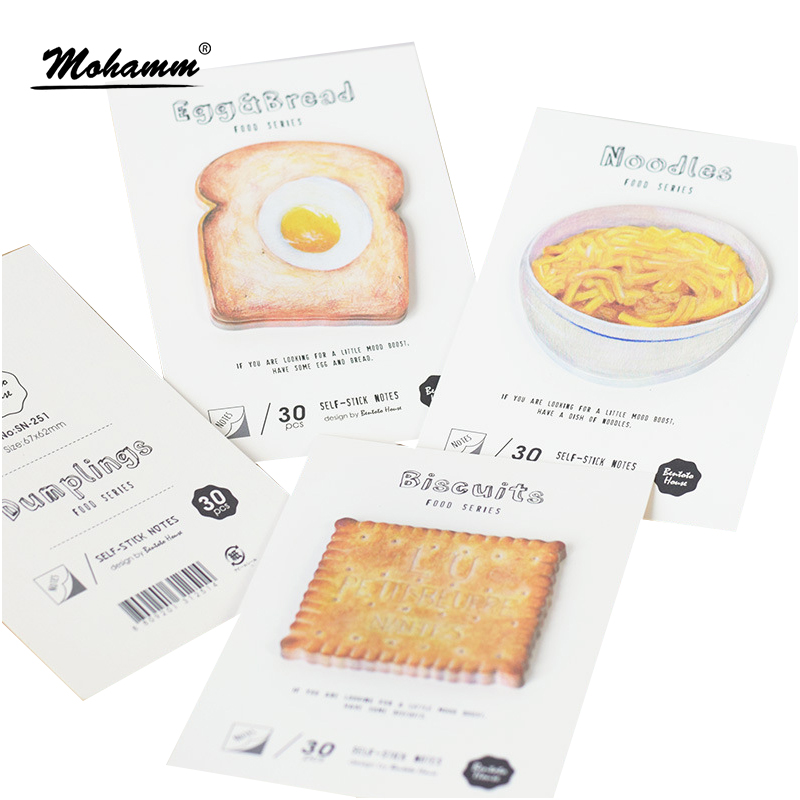 30 sheets/lot Delicious Noodles Cookie Buns Bread Memo Pad Self-Adhesive Sticky Notes Office School Supplies Post It Memo Pad 1000 label self adhesive sticky a4 sheets address labels inkjet laser copier printer ebay amazon sticky address post pack paper