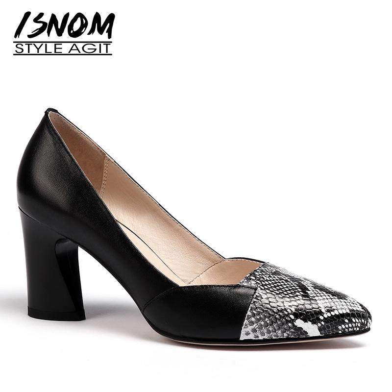 ISNOM Snake Cow Leather Pumps Women Pointed Toe Footwear Thick High Heels Shoes Female Shallow Shoes