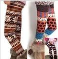 Meninas leggings de inverno de lã cor de ponto onda calças crianças animais parttern lã quente leggings para meninas