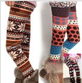 girls leggings winter dot wave point wool colored  thick girl pants kids animals parttern fleece warm  leggings for girls