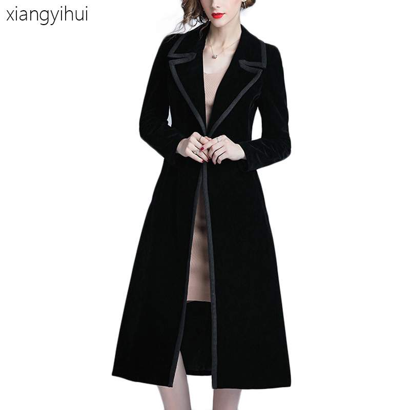 Fashion Warm Velvet Women's   Trench   Coat Black Thicken Long Sleeve Long Coats Outwear Winter Female Casual Clothes