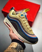 97 Sean Wotherspoon Sneakers 97s SW Multi Yellow Blue Hybrid Running Shoes Mens Sport Shoes size 7 11