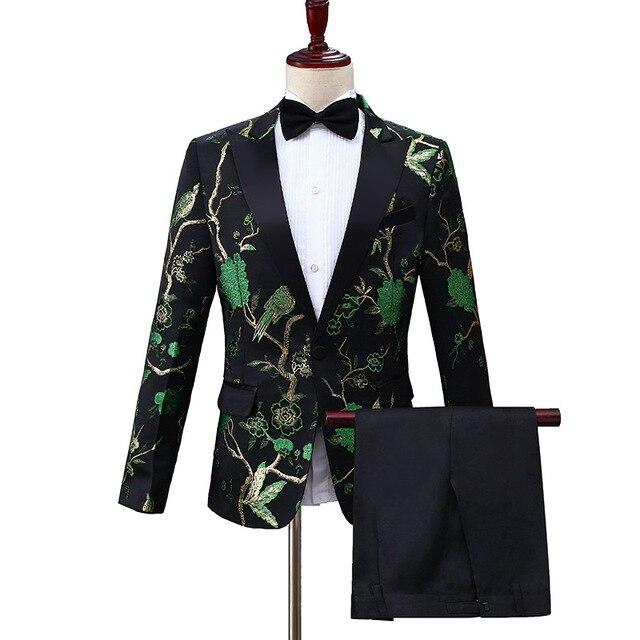 da5596e11 Mens Black Green Embroidery Suits Party Wedding Groom Tuxedo Suit Men 2  Piece Set Suits With