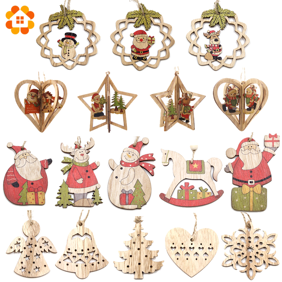 Multi Style Creative Wood Craft Christmas Wooden Pendants Ornaments Kids Gift DIY Xmas Tree Ornament Christmas Party Decorations-in Pendant & Drop Ornaments from Home & Garden on Aliexpress.com | Alibaba Group