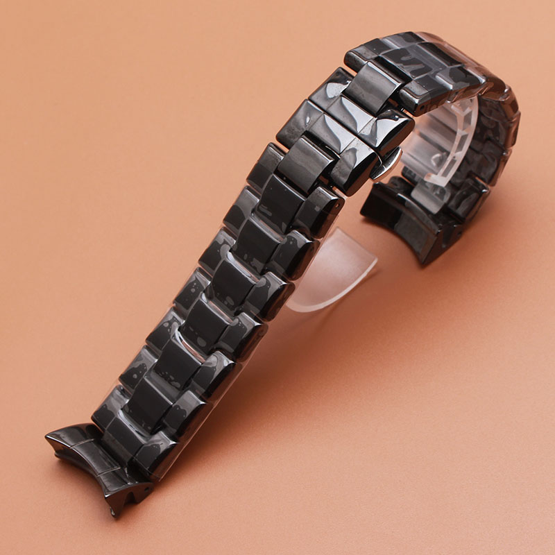 Watchbands 22mm High Quality Ceramic Watchband  black Diamond Watch fit brand 1400 1403 1410 1442 Man watch Bracelet curved ends