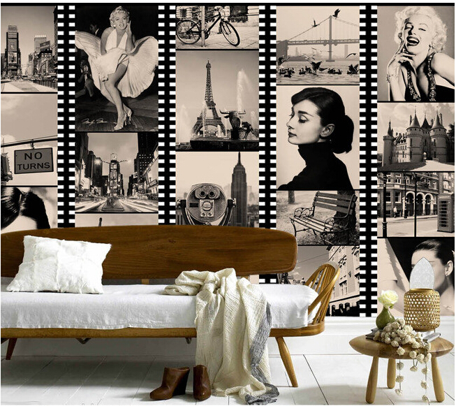 Custom vintage wallpaper,black and white film star Hepburn Monroe mural for the living room bedroom TV background wall wallpaper  free shipping hepburn classic black and white photographs women s clothing store cafe background mural non woven wallpaper