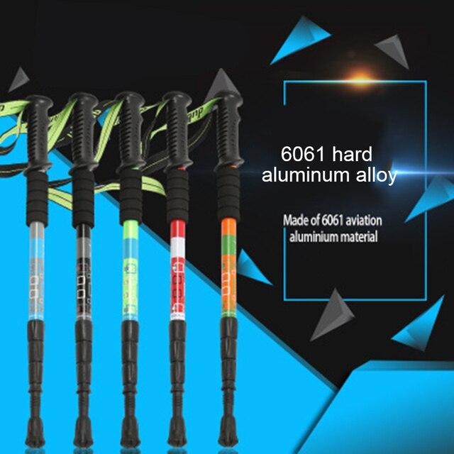 Новый треккинг полюс 4 секции телескопические авиационные алюминиевые походные палки трости ультра светильник палки для скандинавских прогулок телескопические