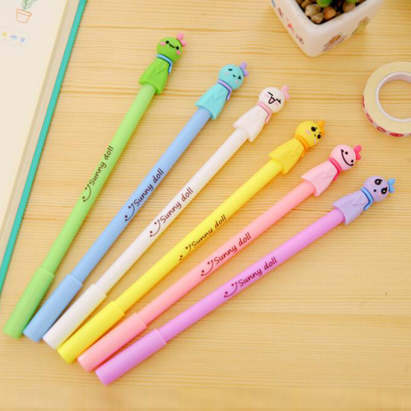 New 10 Pcs/lot Cute Face Gel Pen Cute Pens Kawaii School Office Supplies Kid Children Studen Stationery Writing Pens Signing Pen