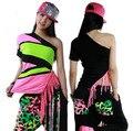 Hot!!! 2015 Nova Marca de Moda hip hop top dança Jazz feminino ds traje desgaste desempenho Borla oblíqua Sexy neon borla t-shirt