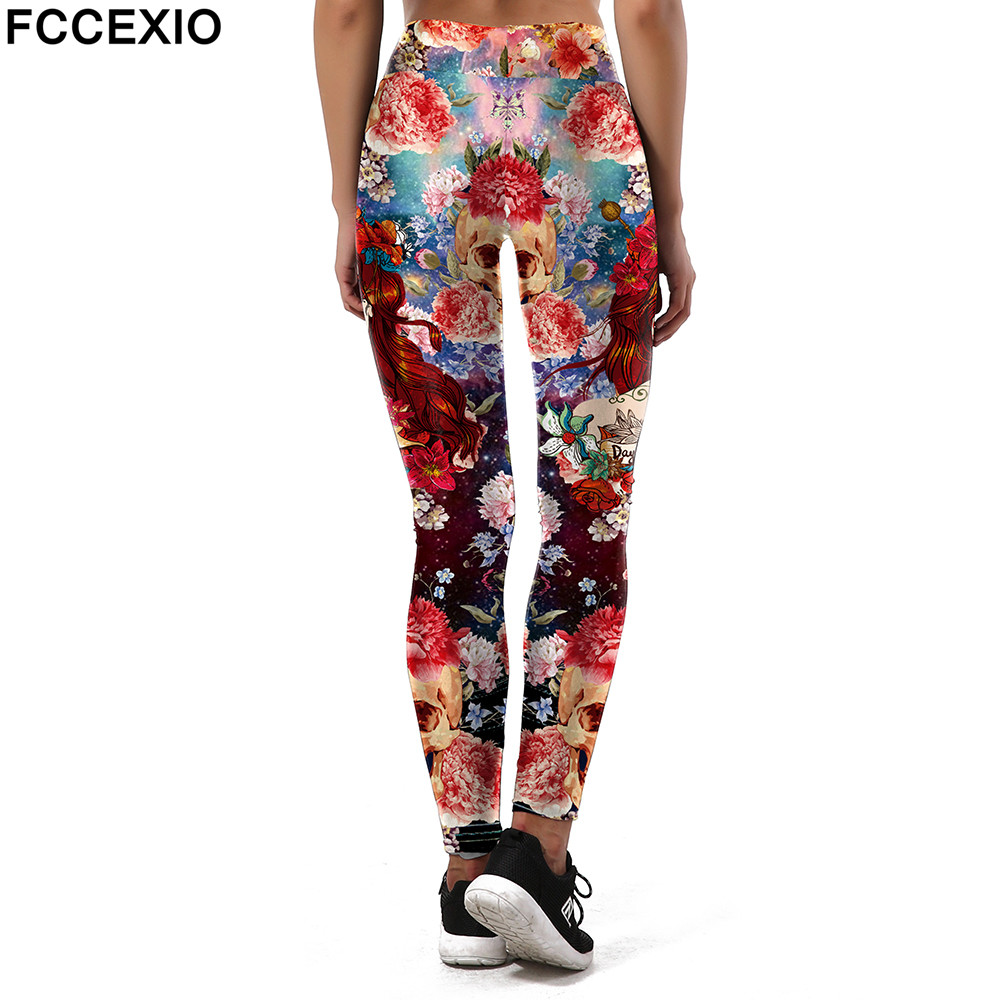 FCCEXIO New Style Fashion Leggings Women Sporting Flower Skull Fitness Leggins 3D Printed Head Pattern Pants High Waist Trousers
