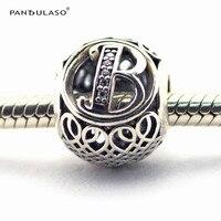 Pandulaso ماركة logo رسالة b فضة الخرز ل صنع المجوهرات أزياء النساء diy كريستال الأبجدية الخرز صالح diy سحر أساور