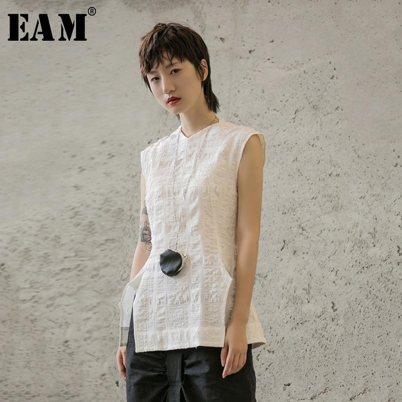 [EAM] 2020 New Spring Summer Round Neck Sleeveless White Loose Hem Vent Spit Joint Temperament T-shirt Women Fashion Tide JX621