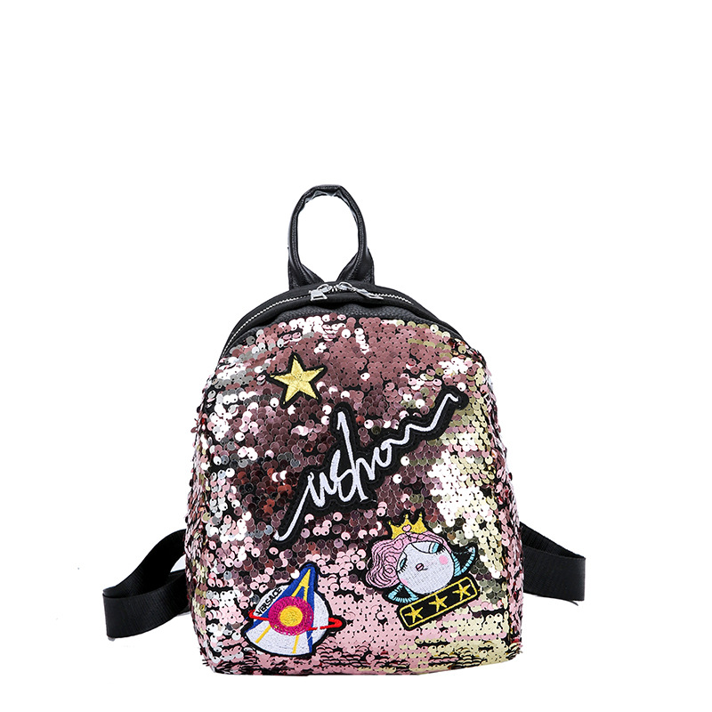 Meloke Mini Sequined Backpack With Cute Embroidery Backpacks For Women Girls Travelbag Bling Shiny Backpack School Backpack M163 #4