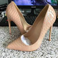 Novedad 2018 zapatos de mujer negro de piel de serpiente desnuda Sexy tacones altos 12 cm/10 cm/8 zapatos de tacón para mujer