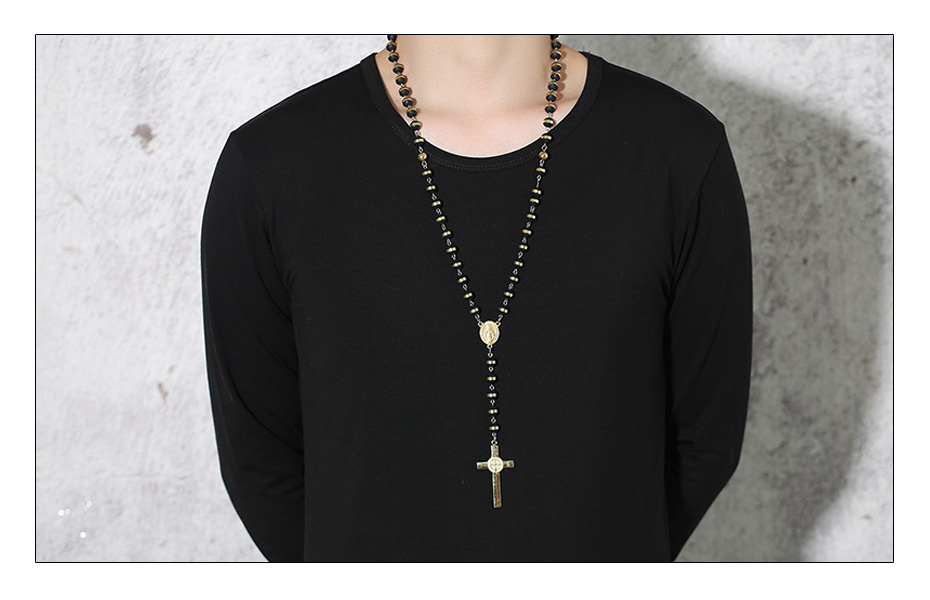 Meaeguet BlackGold Color Long Rosary Necklace For Men Women Stainless Steel Bead Chain Cross Pendant Women`s Men`s Gift Jewelry (2)