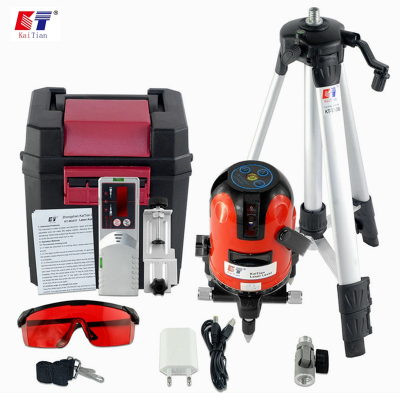 KaiTian Laser Level for Tripod Self Leveling 3 Lines with Detector Outdoor Tilt Function 360 Rotary Vertical Horizontal Lasers