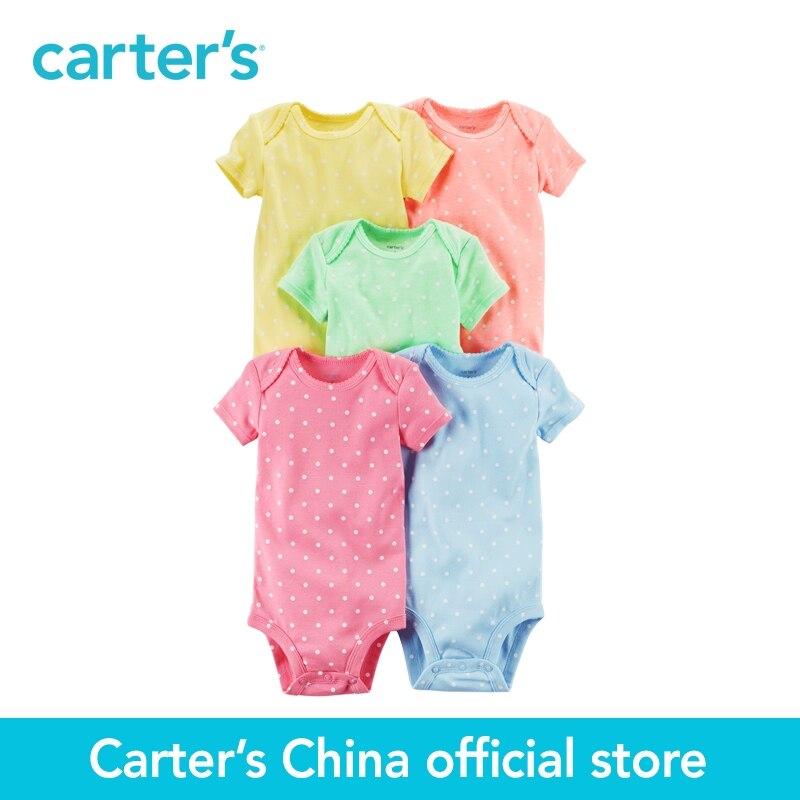 Carter's/5-пакет для маленьких детей Детская одежда с коротким рукавом оригинальный хлопок сладкий печатает боди 126G660