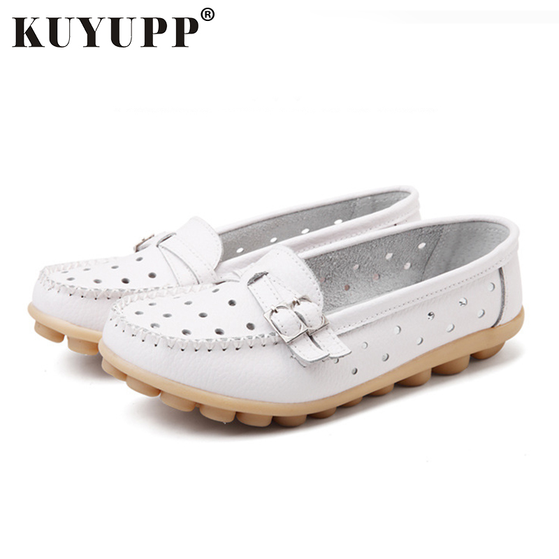 Hollow Out Women Flat Shoes Fashion Cow Leather Footwear Loafers Moccasin Driving Shoes Platform Peas Ladies Flat Shoes SDT13