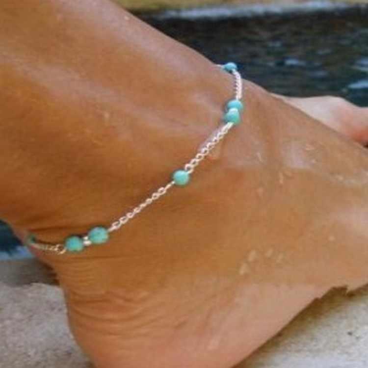 Sprzedaż hurtowa unikalne nylonowe zroszony koraliki srebrne łańcuszki obrączki pamiątki bransoletka na kostkę biżuteria na stopy szybki bezpłatny statek czeski