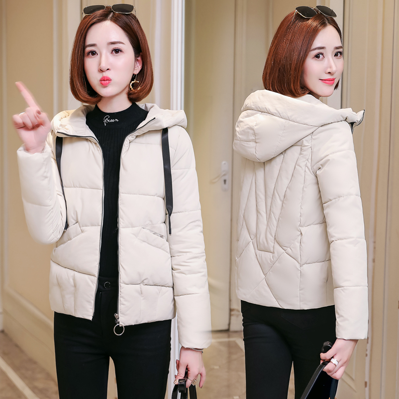 Jacket Women Outerwear Padded Short Hooded-Coats Thicken Plus-Size Cotton Solid Slim