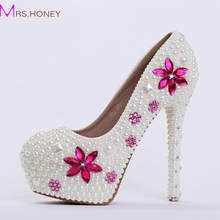 Braut Hochzeit Schuhe mit Weißen Perle Frauen Prom Schuhe Promi-party High Heels Erstaunliche Brautschuhe