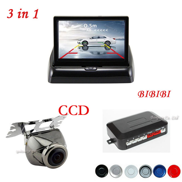 2017 Auto Sensors Buzzer Distance Show on Digital 4.3 Inch Foldable Monitor Screen Video Input with car rear view camera Kit