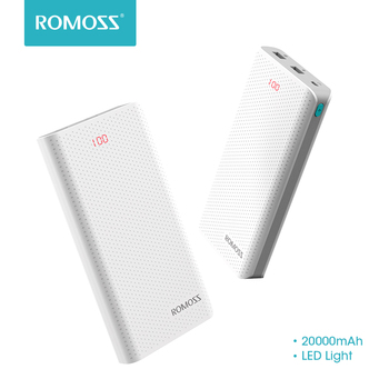 Original ROMOSS 20000mAh Sense 6 LED Power Bank Dual Port External Battery Pack With LED Indicator Fast Charging For Phone Table