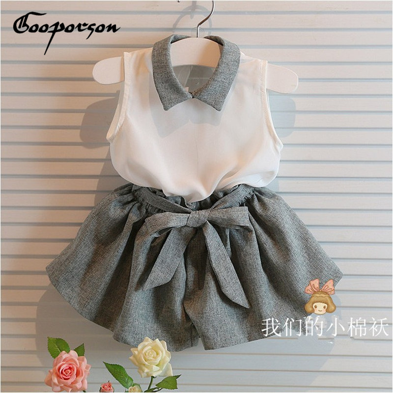 Baby Girls clothes set  white shirt and grey pants summer chiffon 2 pcs clothing set with belt for 3-10years old girls girls in pants third summer
