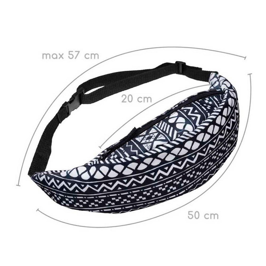 Fashion Hiking Running Belt Waist Bag Pouch Zipper Bag(Black+white)